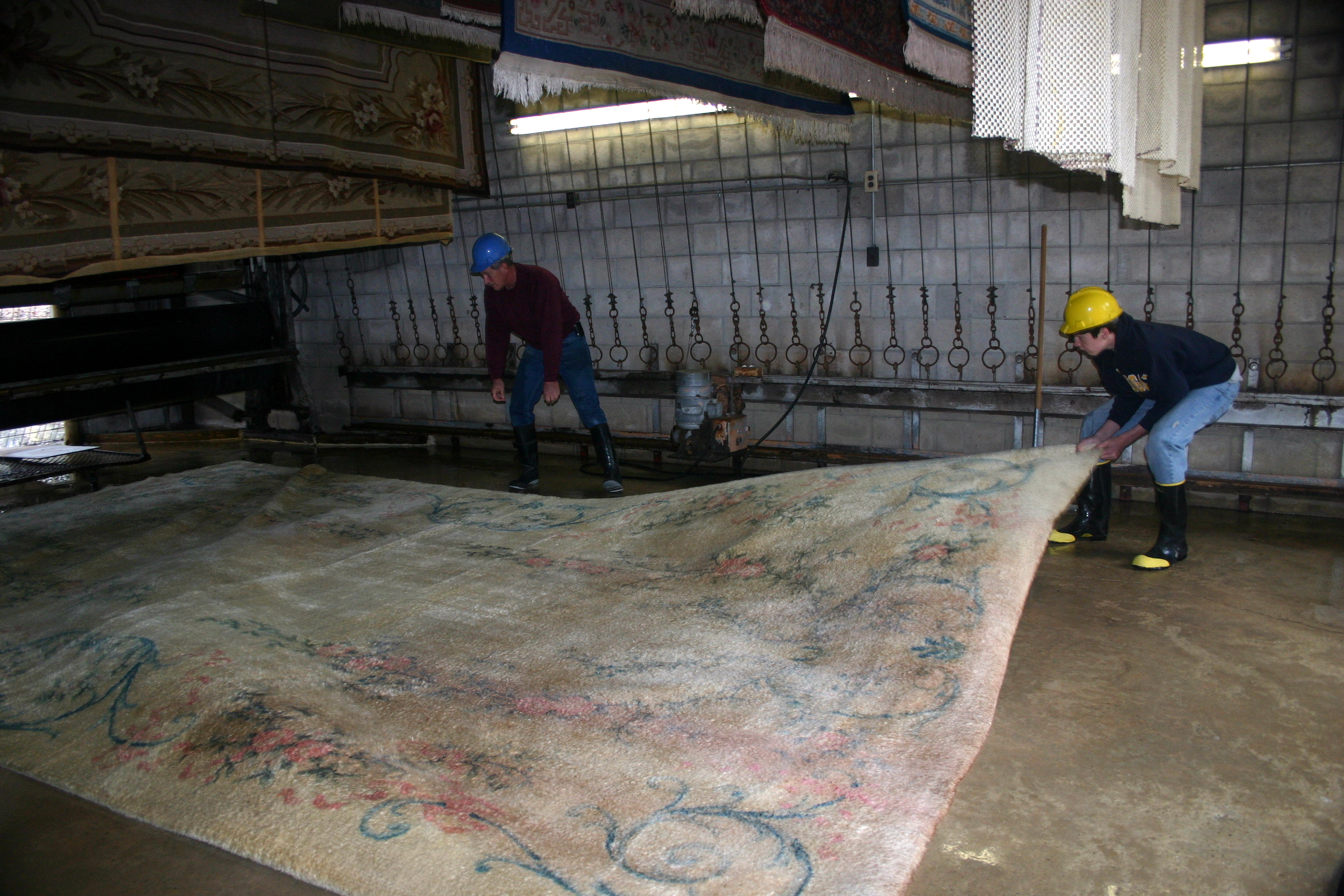 preparing the rug to be cleaned