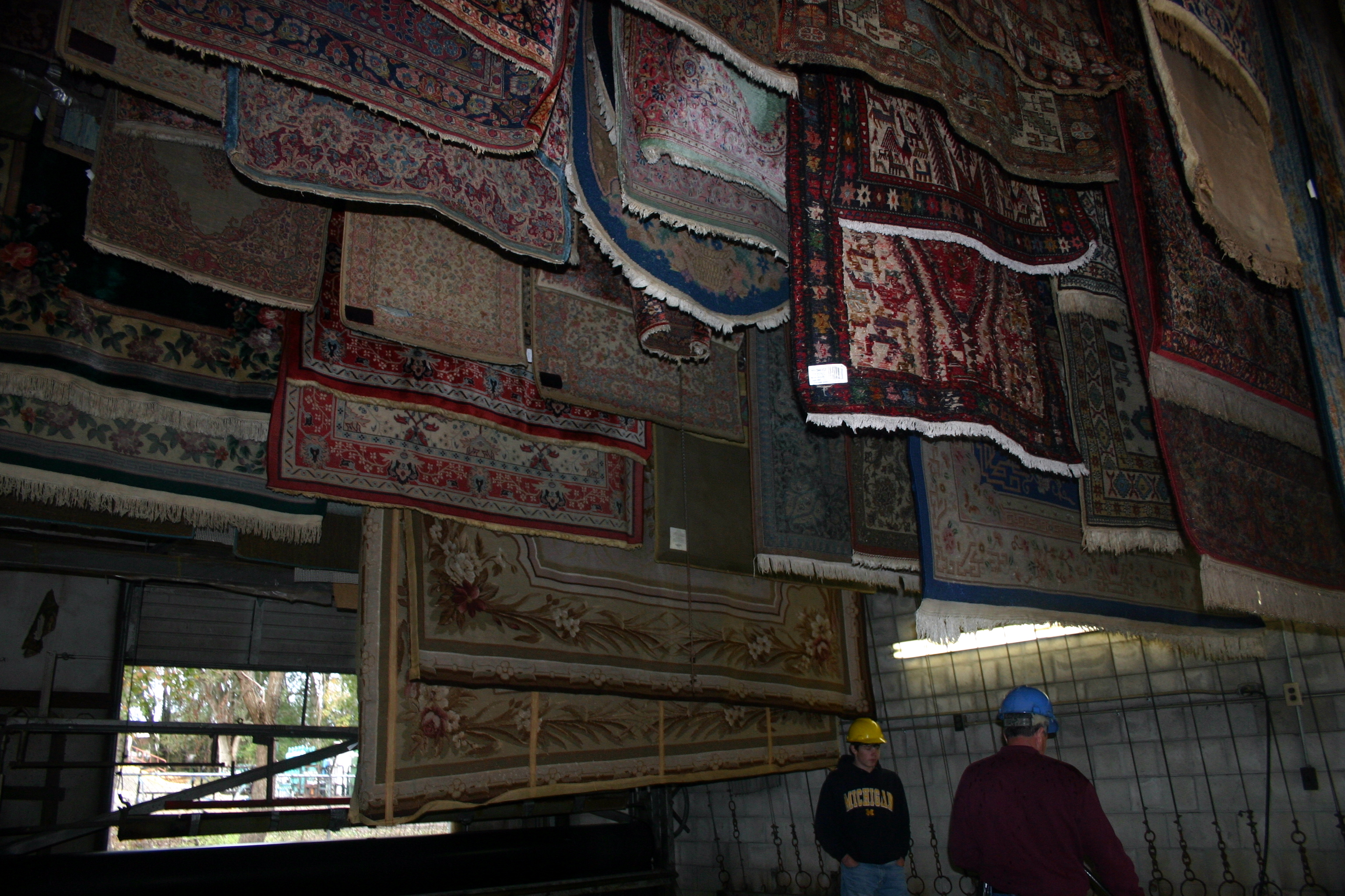 more rugs drying overhead
